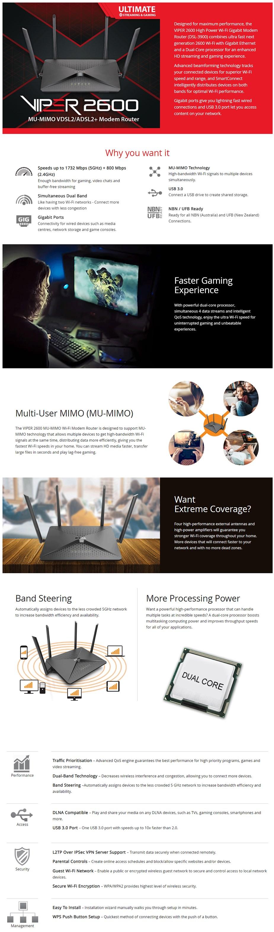 D-Link DSL-3900 Viper 2600 Dual-Band VDSL2/ADSL2+ Modem Router - Desktop Overview 1
