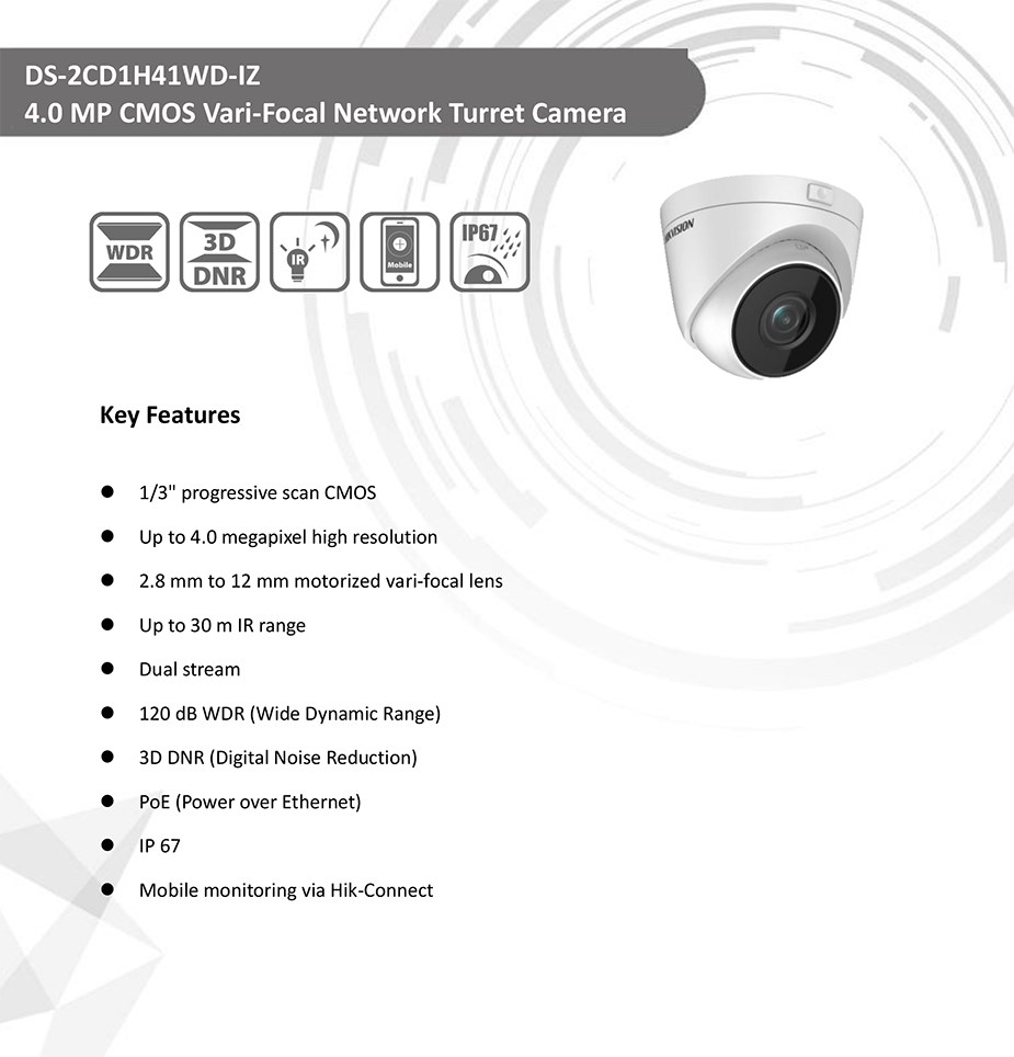 HiLook 2CD1H41WD-IZ 4MP Motorized Lens Network IR Turret Camera - Desktop Overview 1