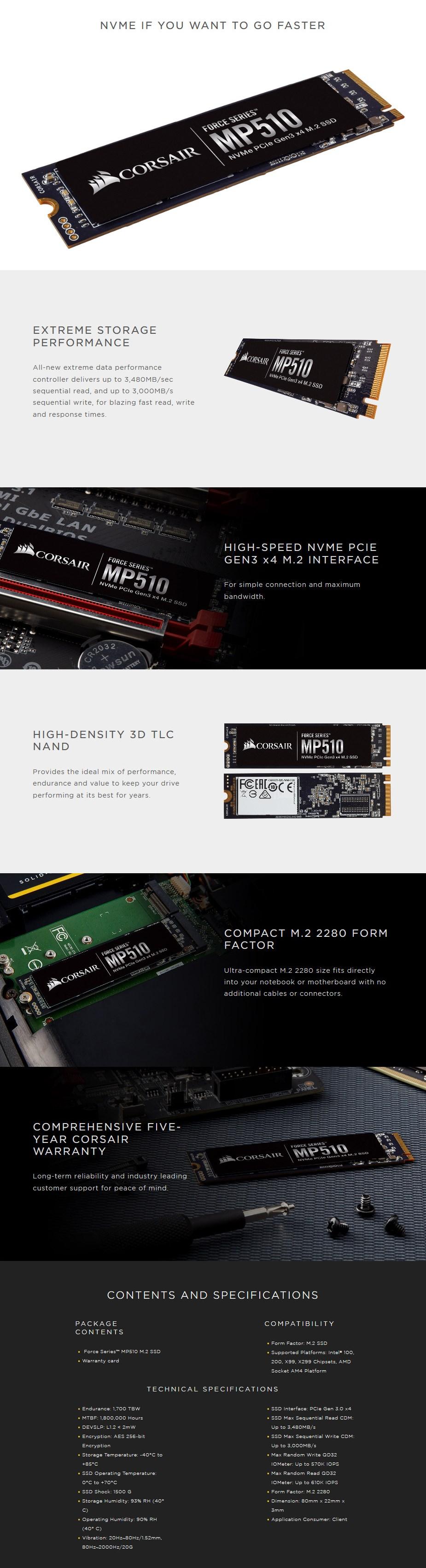 Corsair Force MP510 960GB M.2 NVMe SSD CSSD-F960GBMP510 - Desktop Overview 1