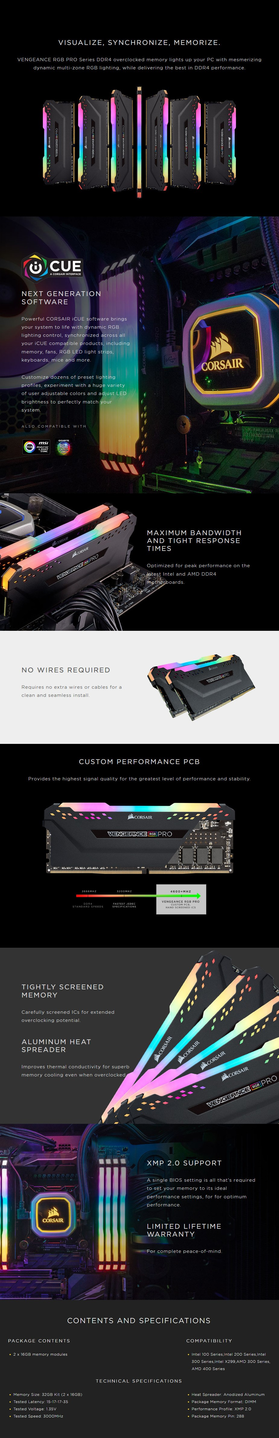 Corsair Vengeance RGB PRO 32GB (2x 16GB) DDR4 3000MHz Memory - Black - Desktop Overview 1