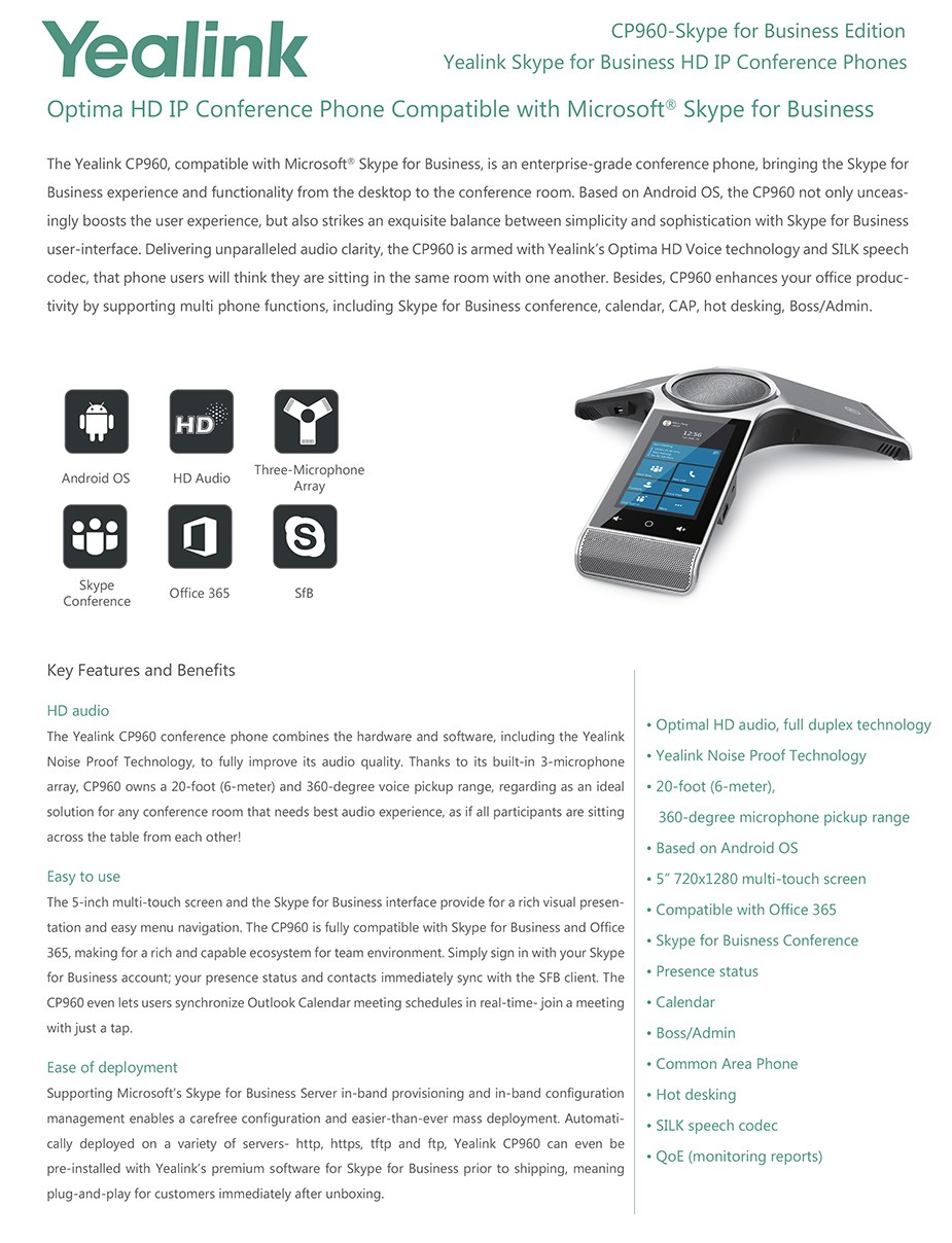 Yealink CP960-SFB IP Conference Phone - Skype For Business - Desktop Overview 1