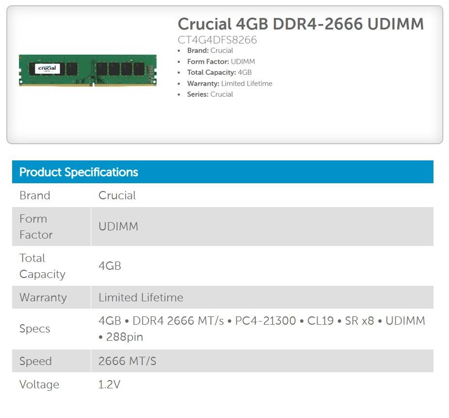 Crucial 4GB (1x 4GB) DDR4 2666MHz Single-Rank UDIMM Memory - Desktop Overview 1