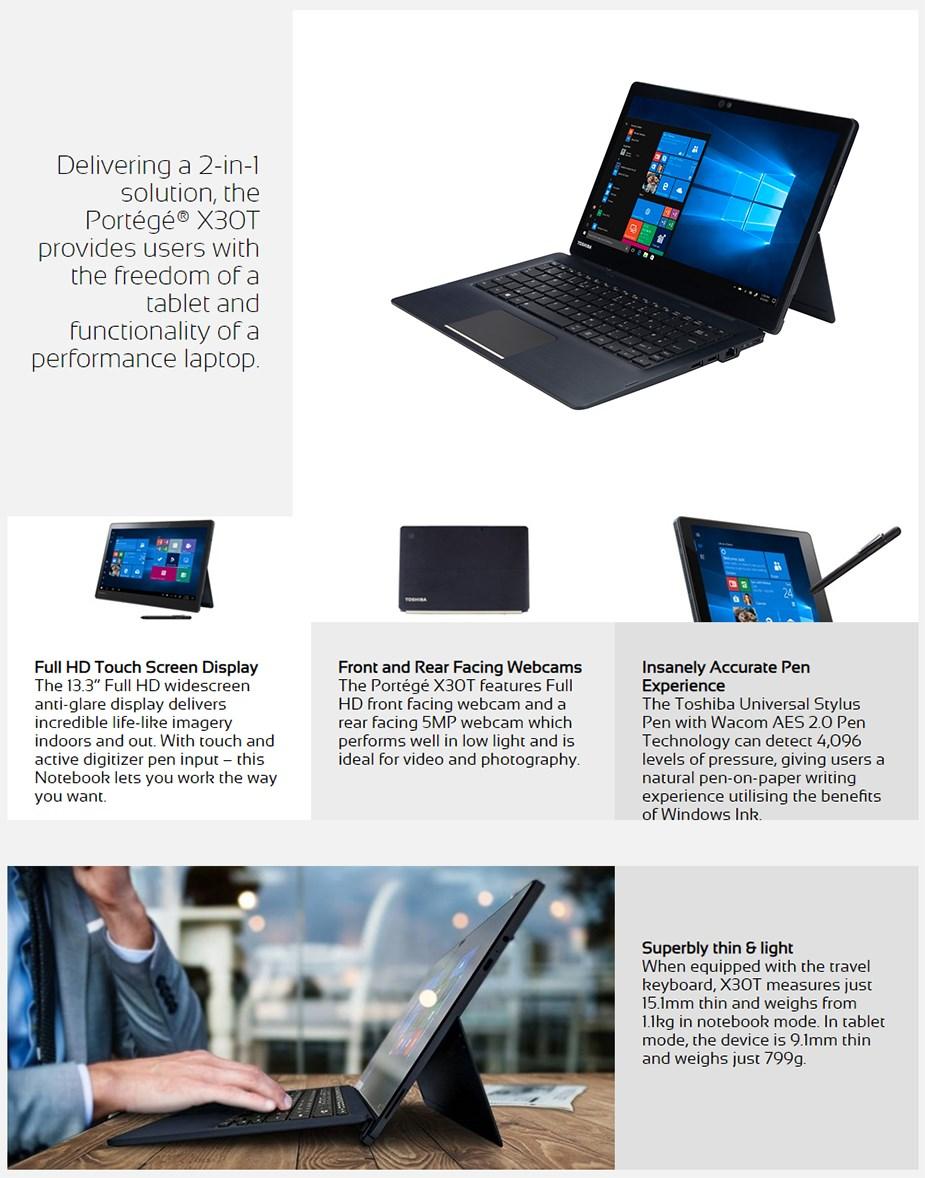 "Toshiba Portege X30T 13.3"" Tablet i5-8250U 8GB 256GB Win10 Pro - Desktop Overview 1"