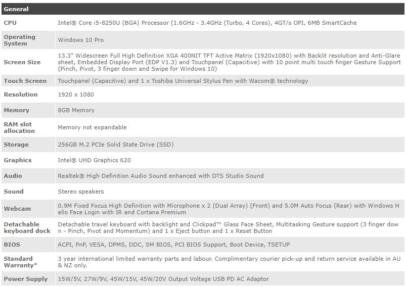 "Toshiba Portege X30T 13.3"" Tablet i5-8250U 8GB 256GB Win10 Pro - Desktop Overview 2"