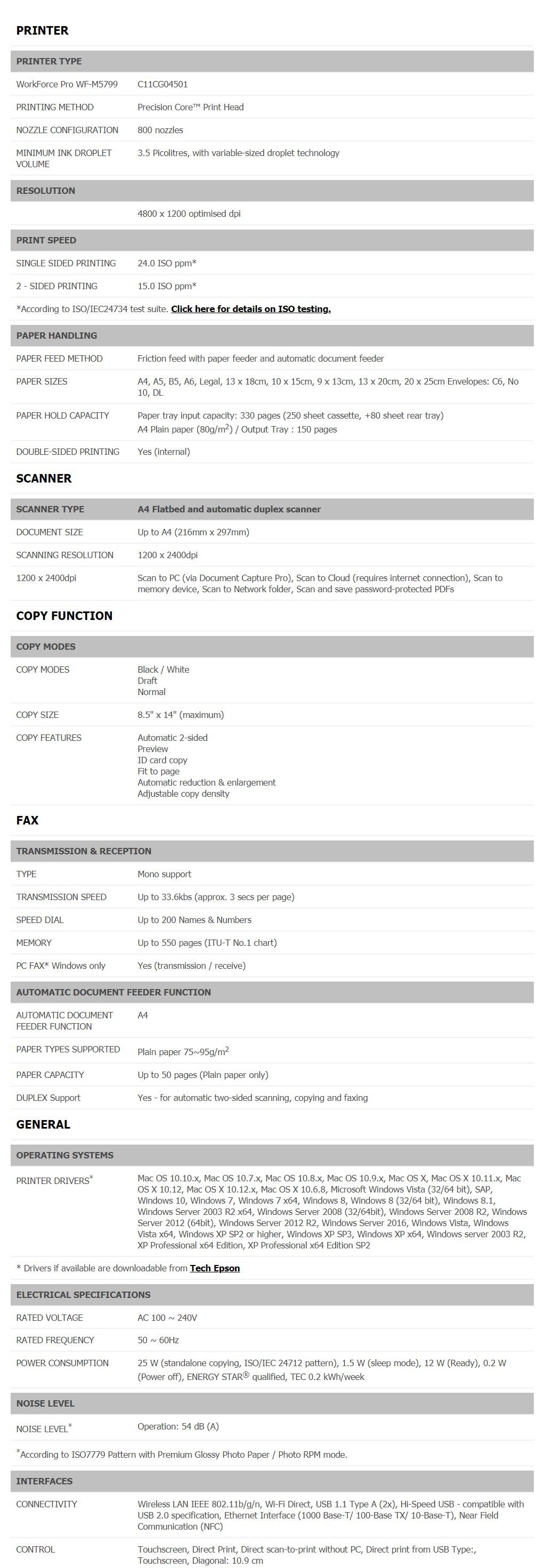 Epson WorkForce Pro WF-M5799 A4 Mono Wireless Inkjet Printer - Desktop Overview 2