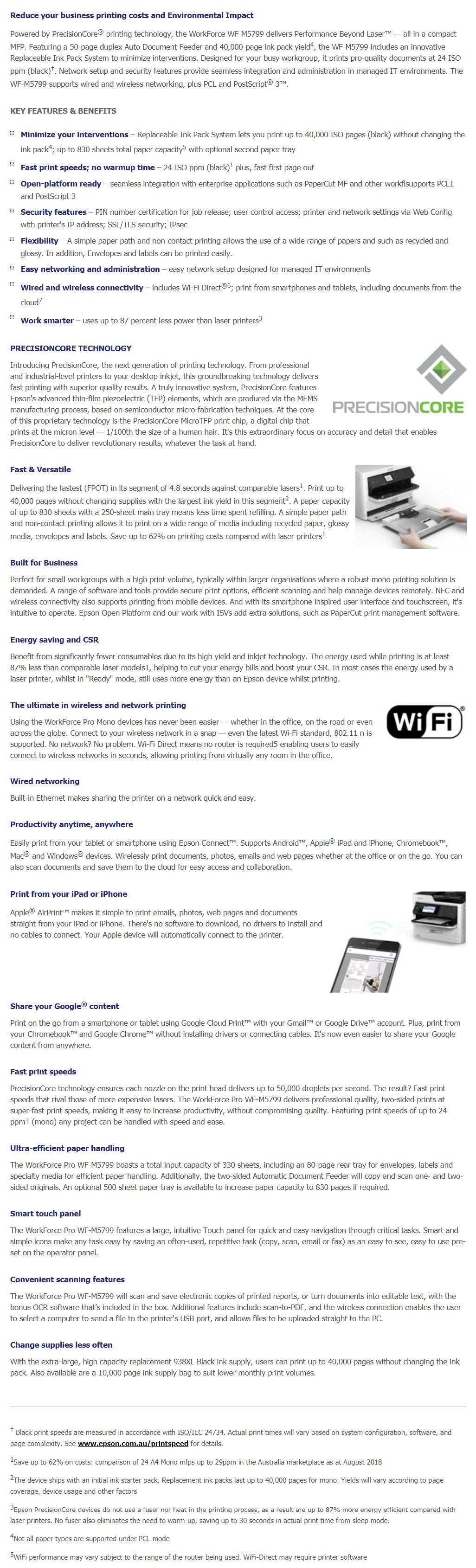Epson WorkForce Pro WF-M5799 A4 Mono Wireless Inkjet Printer