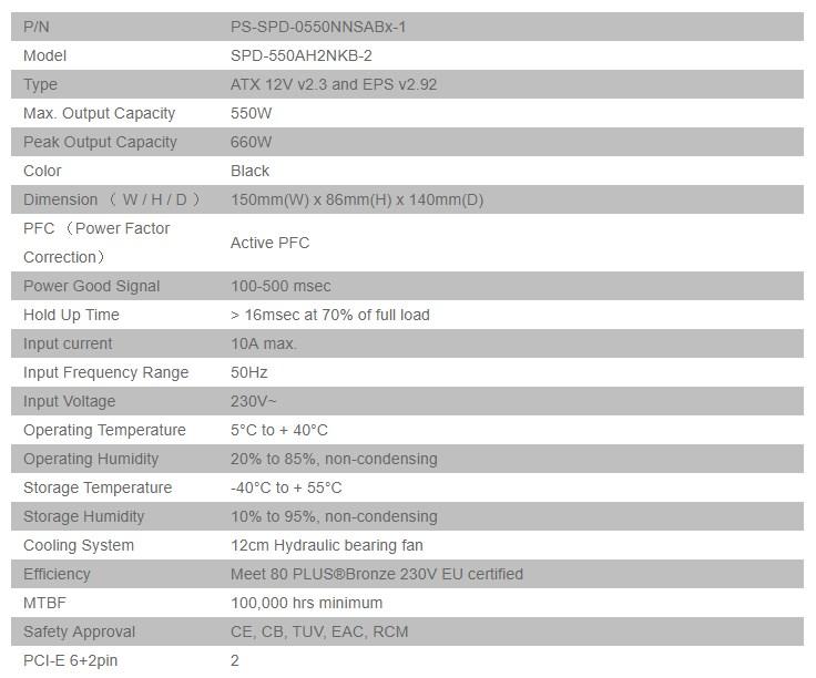 Thermaltake Smart BX1 230V 550W 80+ Bronze Non Modular Power Supply - Desktop Overview 2