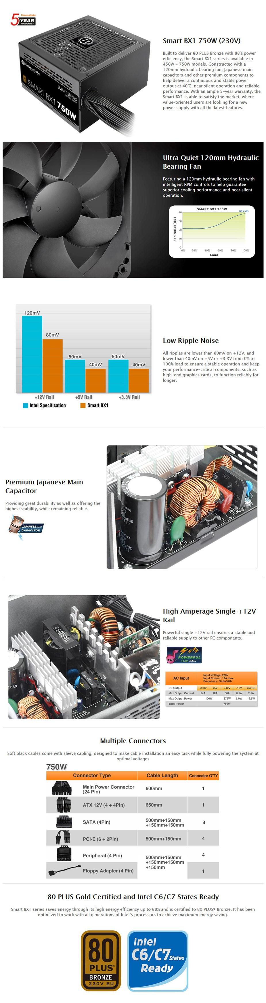 Thermaltake Smart BX1 230V 750W 80+ Bronze Non Modular Power Supply - Desktop Overview 1