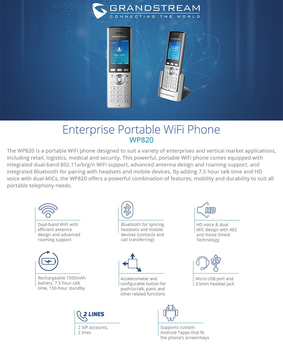 Grandstream WP820 Enterprise Portable WiFi IP Phone - Desktop Overview 1