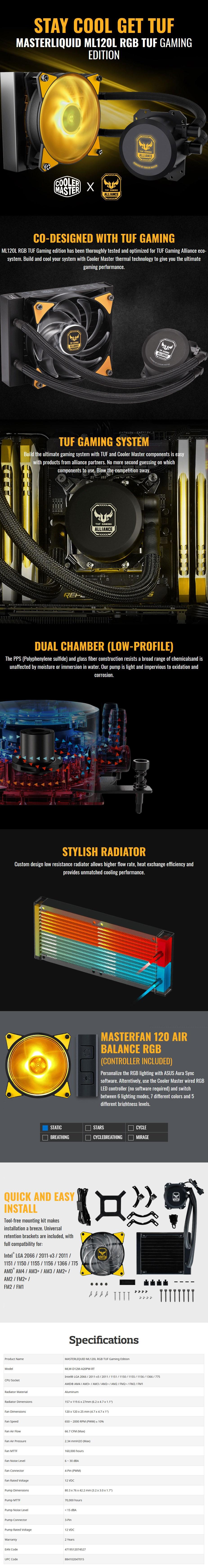 Cooler Master MasterLiquid ML120L RGB AIO Liquid CPU Cooler - TUF Gaming Edition - Desktop Overview 1