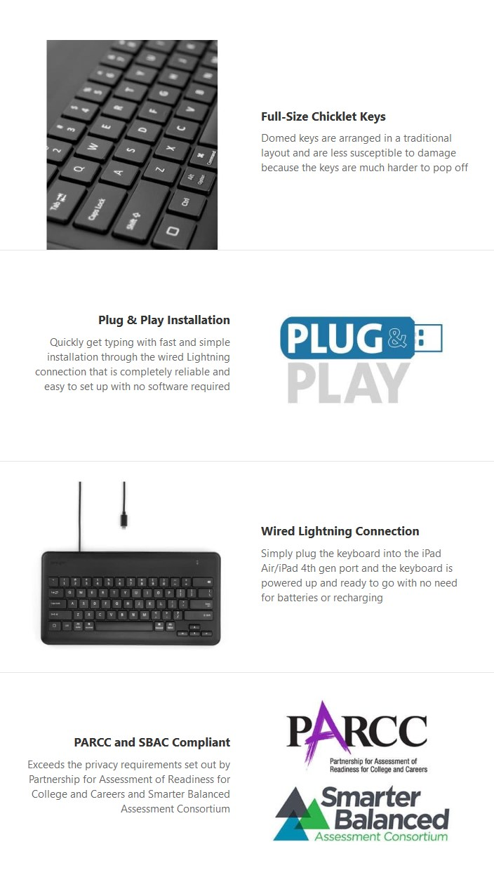 Kensington Wired Keyboard for iPad with Lightning Connector - Black - Desktop Overview 1