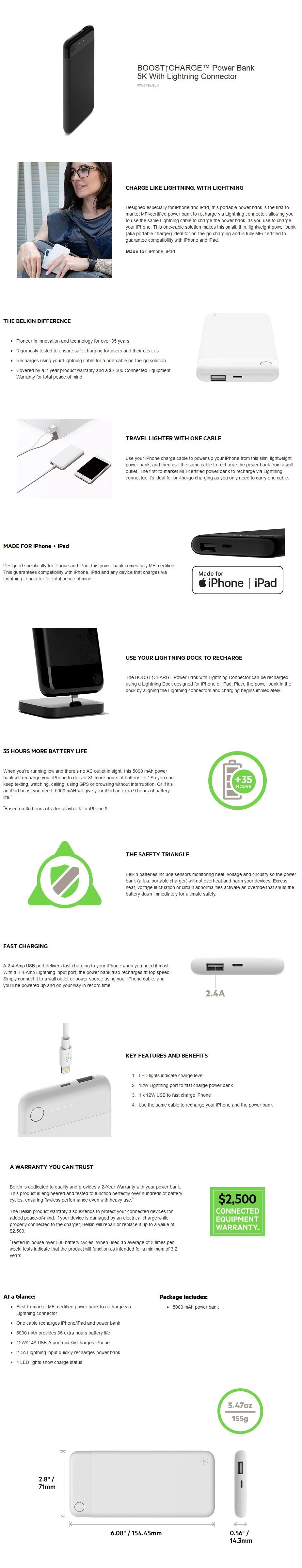 Belkin Boost Charge 5K Power Bank with Lightning Connector - Black - Desktop Overview 1