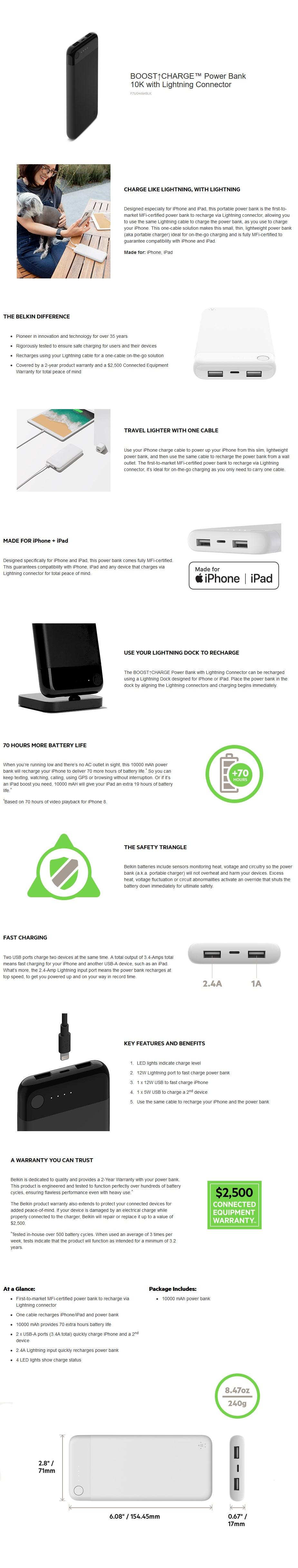 Belkin Boost Charge 10K Power Bank with Lightning Connector - Black - Desktop Overview 1