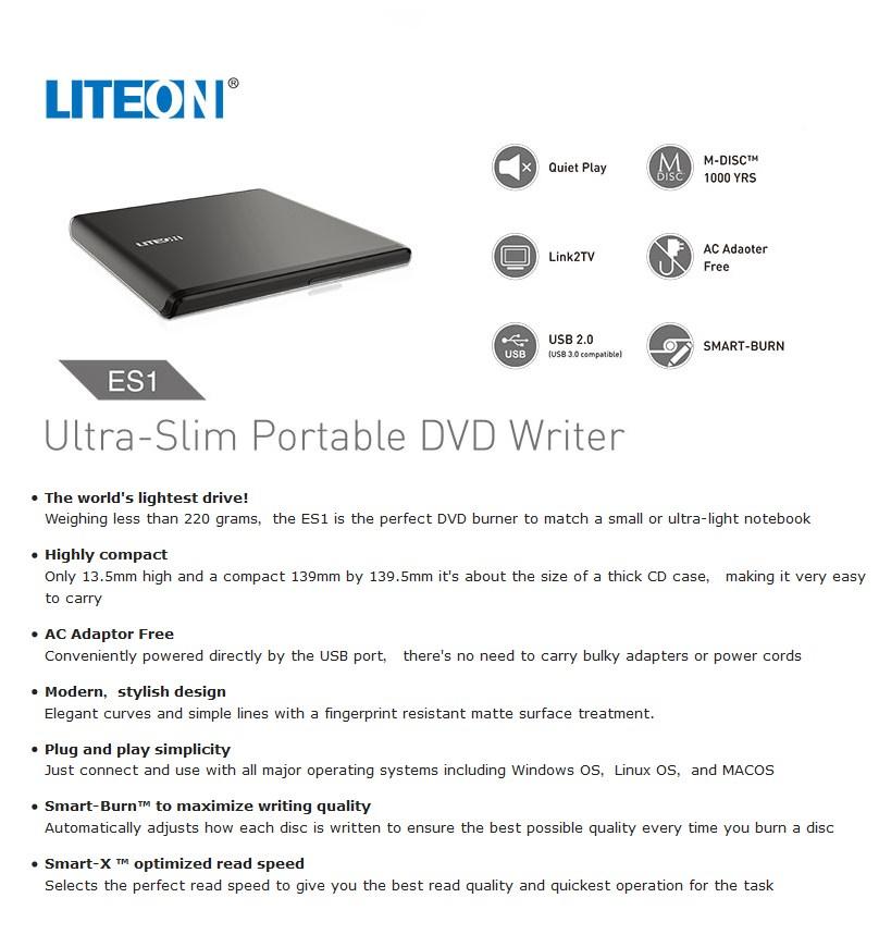 Lite-On ES1 Ultra Slim Portable USB 2.0 DVD Writer - Desktop Overview 1