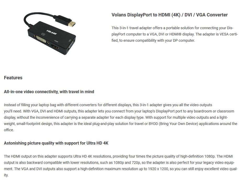 Volans DPHDV-4K DisplayPort to HDMI(4K)/DVI/VGA Converter - Desktop Overview 1