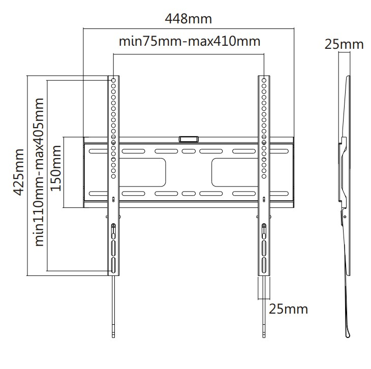 "TIXX F400 400x400mm Flat Wall Mount - For 32"" to 55"" Panels (50KG) - Desktop Overview 1"