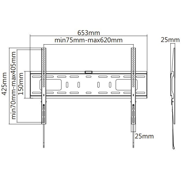 """TIXX F600 600x400mm Flat Wall Mount - For 37"""" to 70"""" Panels (50KG) - Desktop Overview 1"""