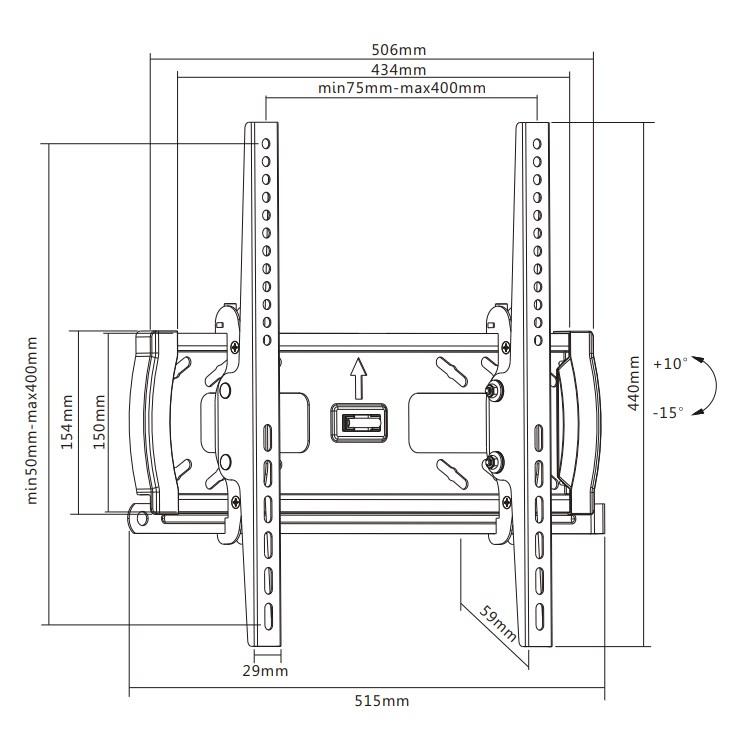 "TIXX T500 400x400mm Tilt Wall Mount - For 32"" to 55"" Panels (45KG) - Desktop Overview 1"