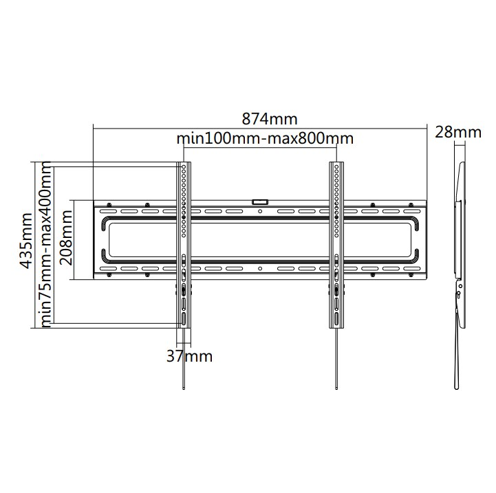 """TIXX F800 800x400mm Flat Wall Mount - For 37"""" to 70"""" Panels (50KG) - Desktop Overview 1"""