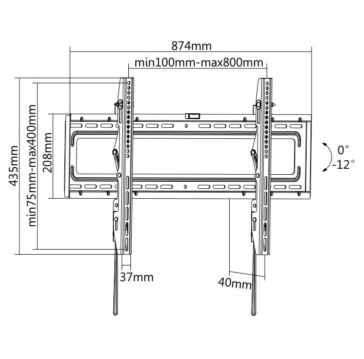 "TIXX T800 800x400mm Tilt Wall Mount - For 37"" to 70"" Panels (50KG) - Desktop Overview 1"