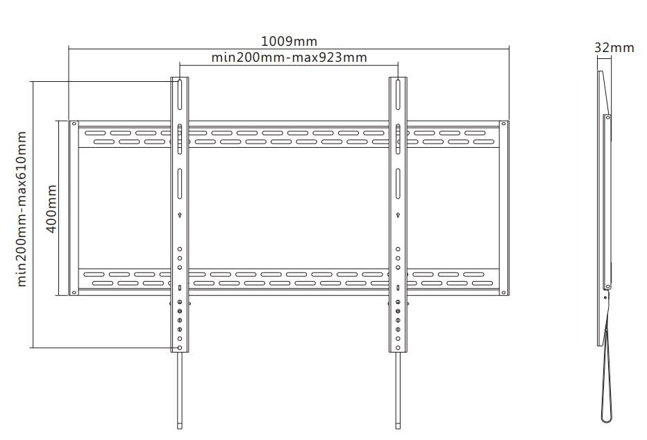 "TIXX F1000 600x900mm Flat Wall Mount - 60"" to 100"" Panels (Max 100KG) - Desktop Overview 1"