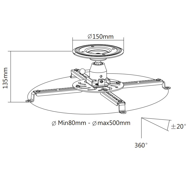 TIXX PM25W Projector Ceiling Mount - White - Desktop Overivew 1