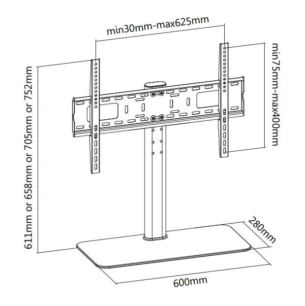 """TIXX VTM600 600x400mm Table Top Stand - 32"""" to 55"""" Panels (Max 40KG) - Desktop Overview 1"""