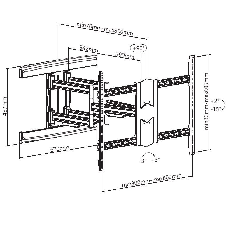 "TiXX AR600 800x600mm Heavy Duty Articulated Wall Mount - 43"" to 90"" Panels - Desktop Overview 1"