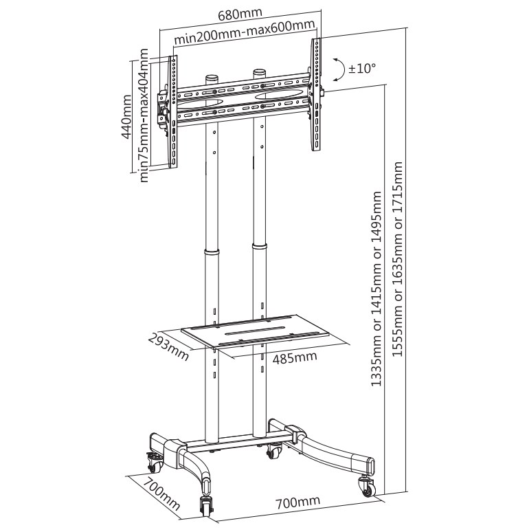 """TiXX MT600 600x400mm Mobile Trolley LCD Mount - 37"""" to 70"""" Panels (Max 40KG) - Desktop Overview 1"""