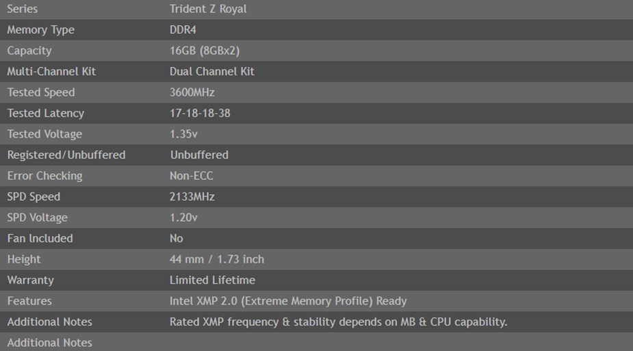 G.Skill Trident Z Royal RGB 16GB (2x 8GB) DDR4 3600Mhz Memory - Silver - Desktop Overview 2