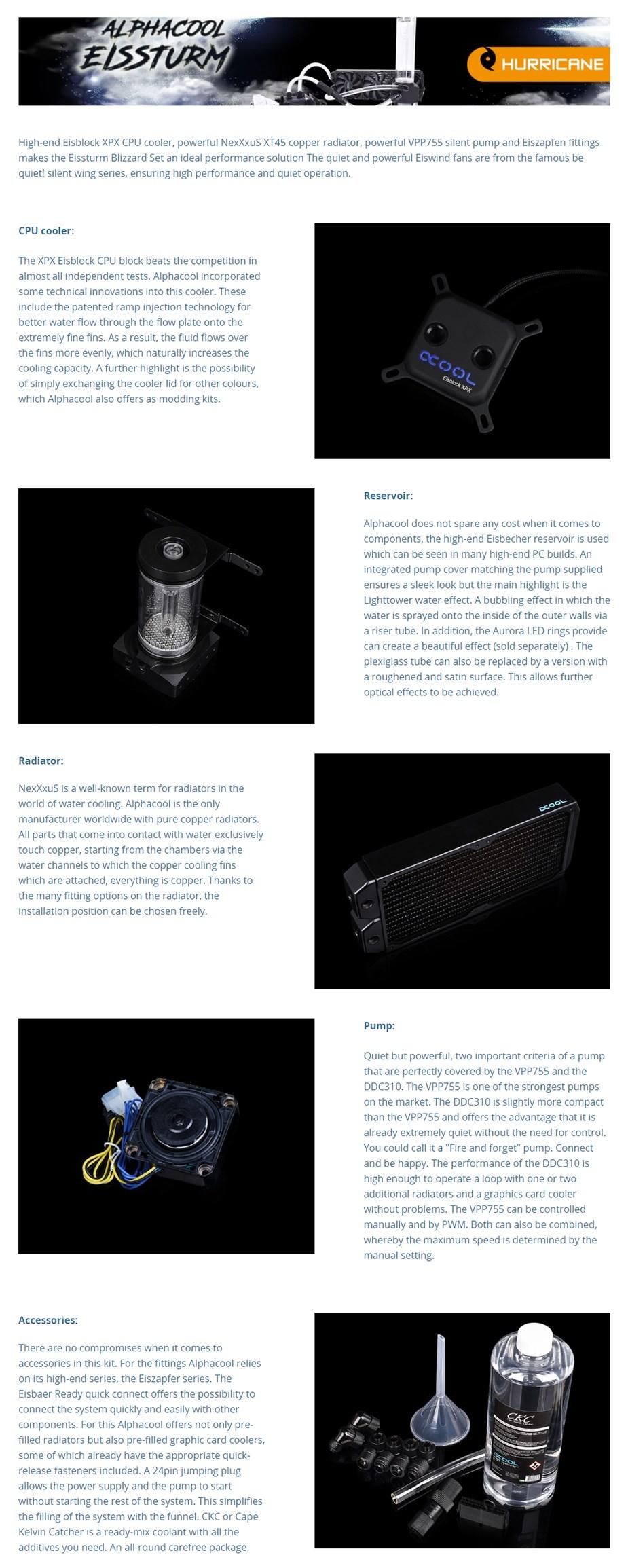 Alphacool Eissturm Hurricane Copper 45 2x140mm Watercooling Kit - Desktop Overview 1