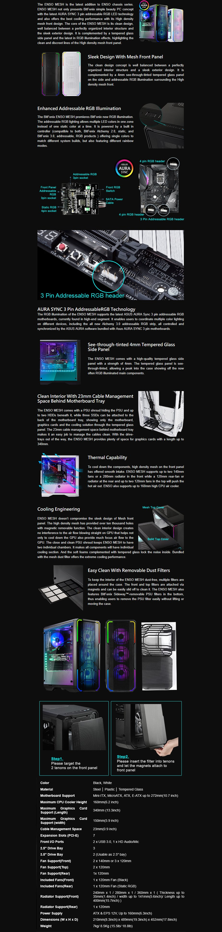 Bitfenix Enso Mesh RGB Mid Tower E-ATX Case - White Display 1