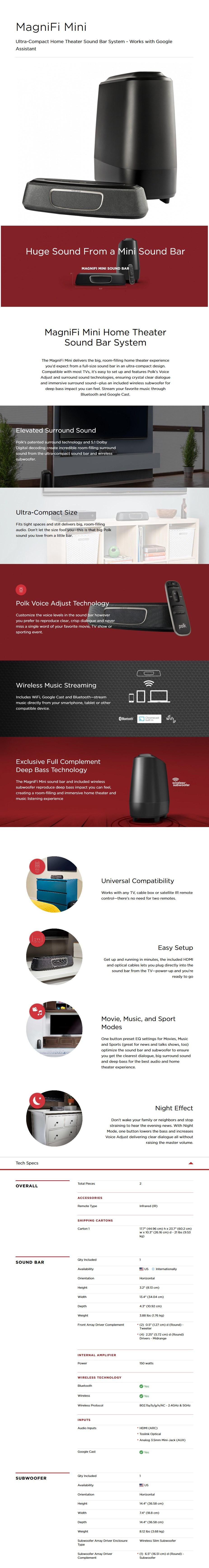 Polk MagniFi Mini Wireless Sound Bar System - Black - Desktop Overview 1