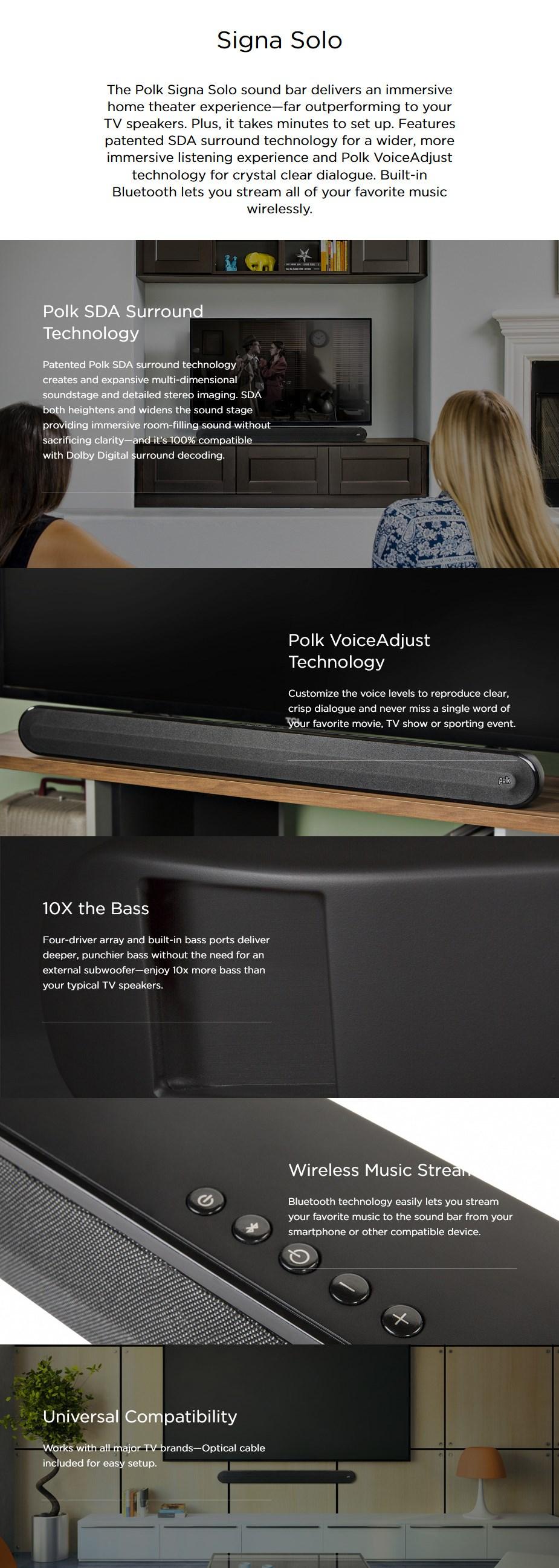 Polk Signa Solo Home Theater Bluetooth Sound Bar - Desktop Overview 1