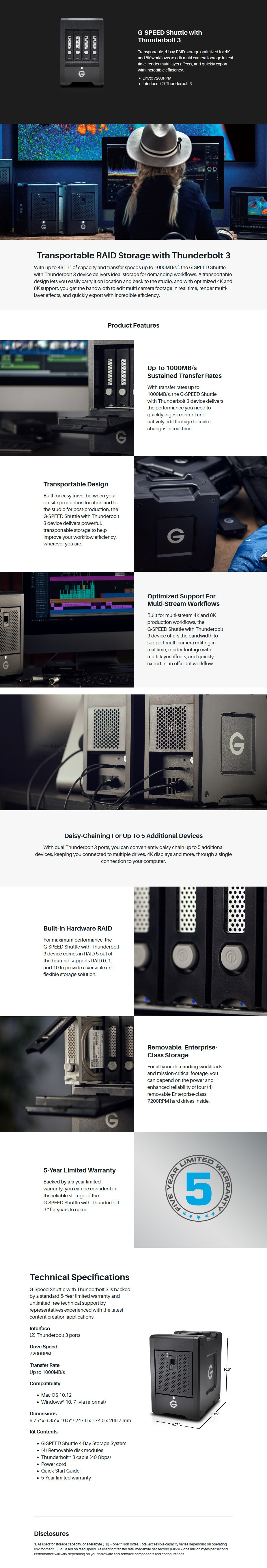 G-Technology 0G10089 G-SPEED Shuttle Thunderbolt 3 48GB 4-Bay HDD Storage System Display Overview 1