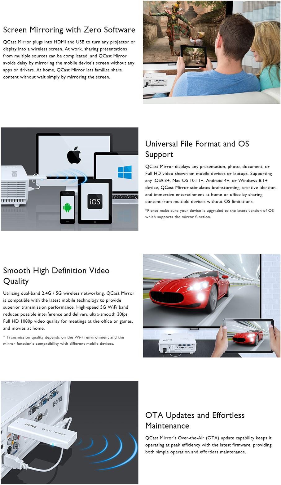 BenQ QP20 QCast Mirror HDMI Wireless Dongle - 5A JH328 10T | Mwave