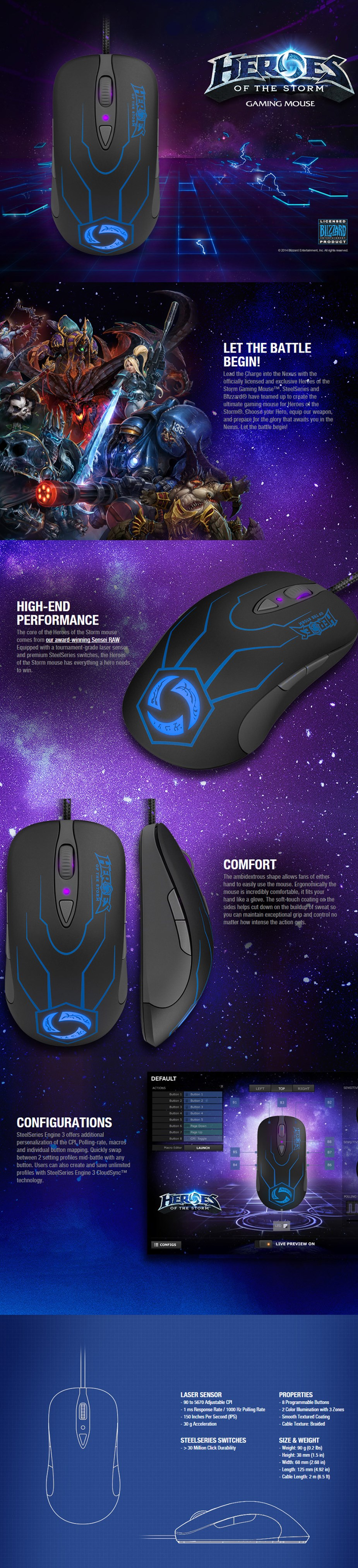 SteelSeries Sensei Raw Heroes of the Storm Gaming Mouse - Desktop Overview 1
