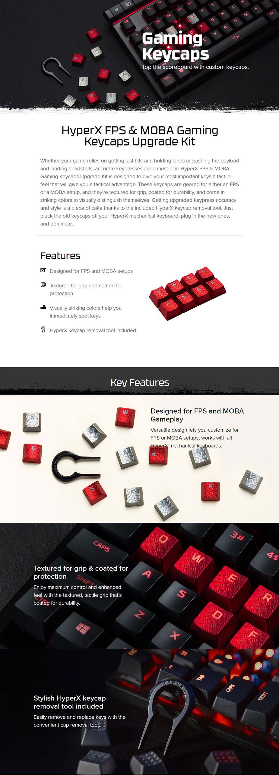 HyperX FPS & MOBA Gaming Keycaps (Red)