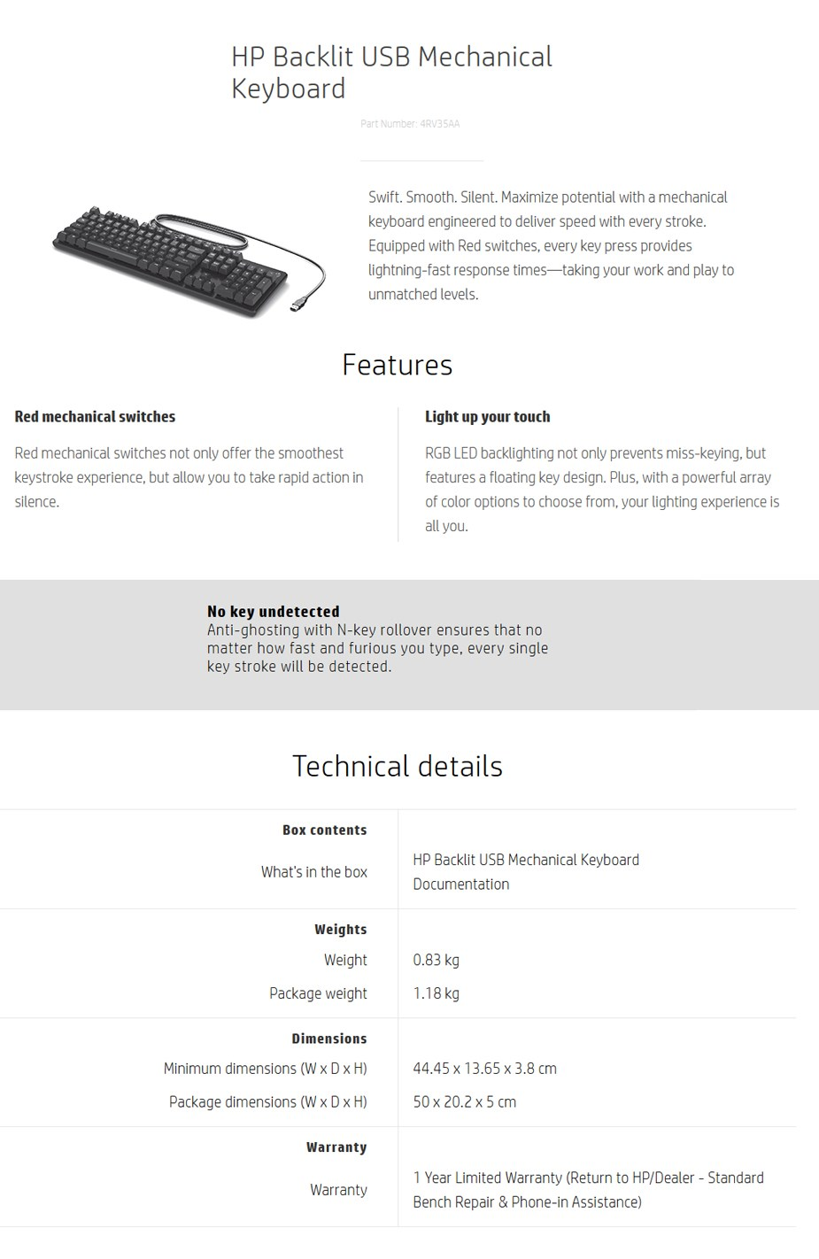 HP Backlit USB Mechanical Keyboard Display Overview 1