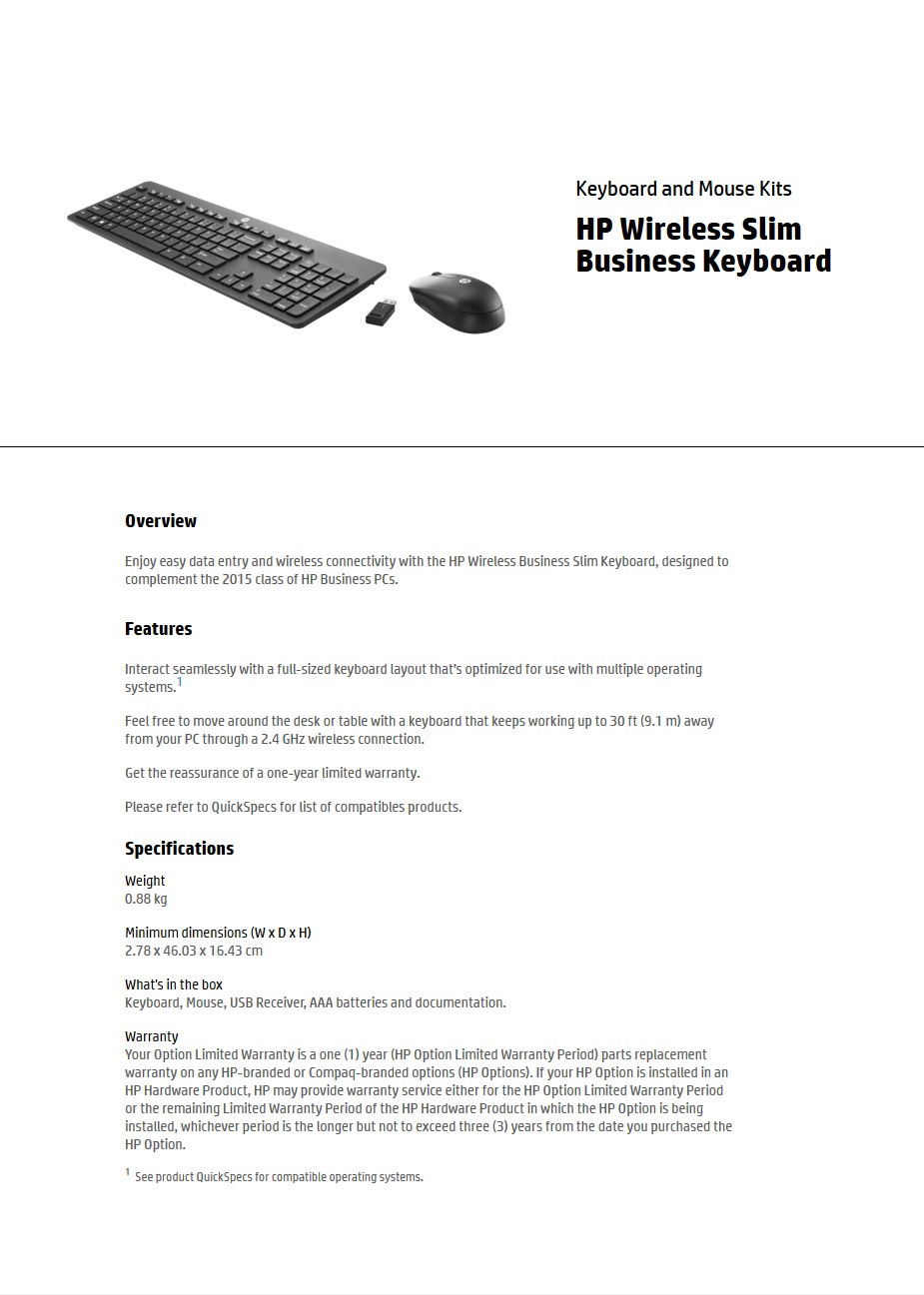 HP Wireless Slim Business Keyboard & Mouse Display Overview 1