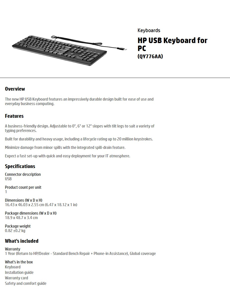 HP USB Keyboard DIsplay Overview 1