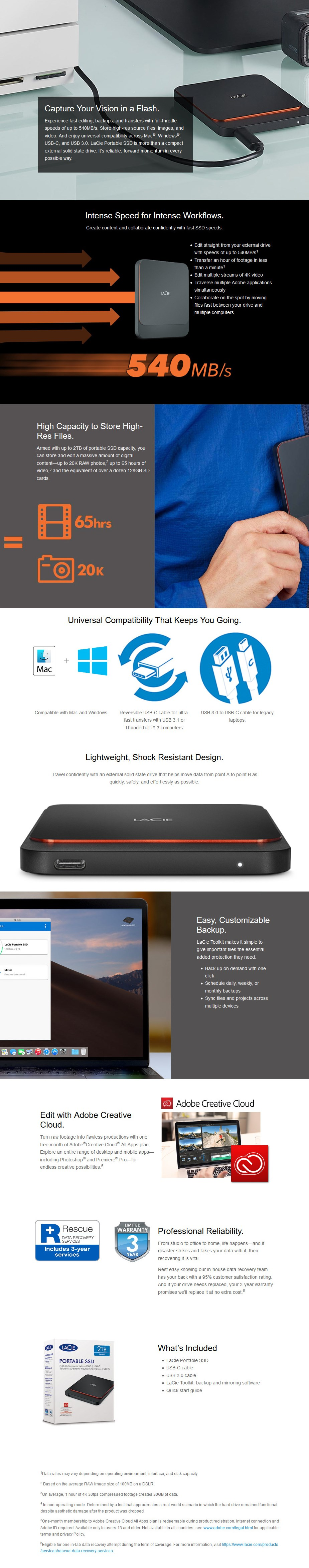 LaCie 2TB USB 3.1 Gen 2 Type-C Portable External SSD - Desktop Overview 1