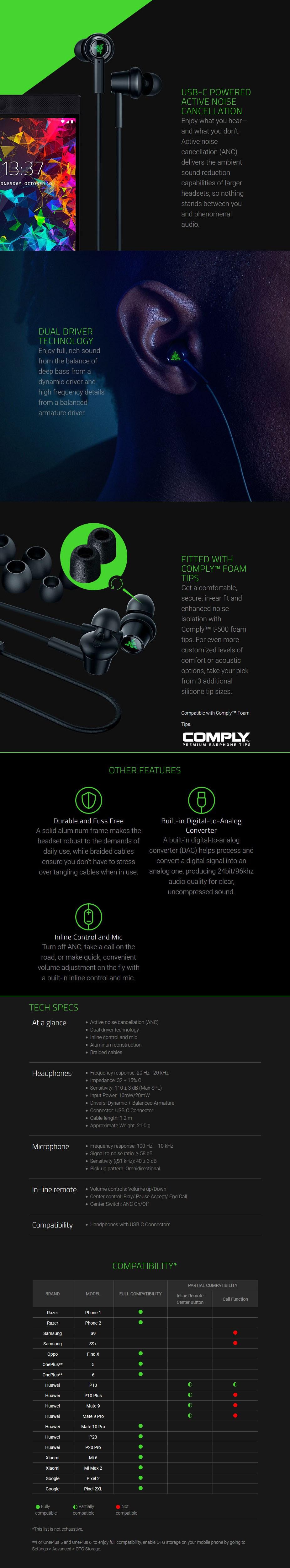 Razer Hammerhead USB-C ANC In-Ear Headphones - Desktop Overview 1