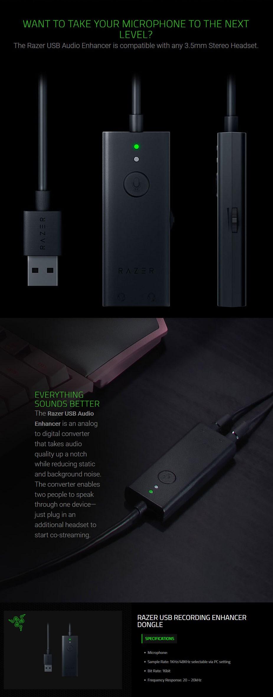 Razer USB Recording Enhancer Dongle - RZ19-02310100-R3M1 | Mwave com au