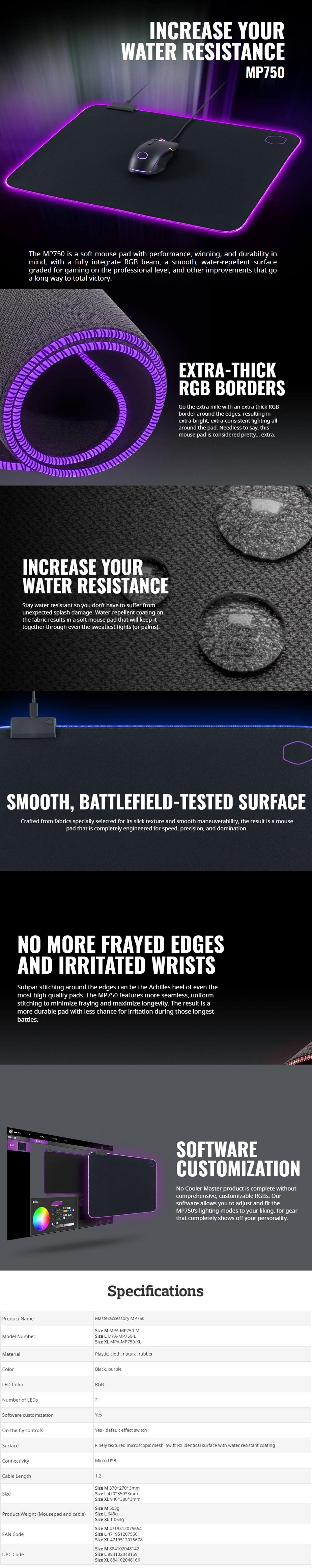 Cooler Master MP750 RGB Gaming Mouse Pad - Medium - Desktop Overview 1