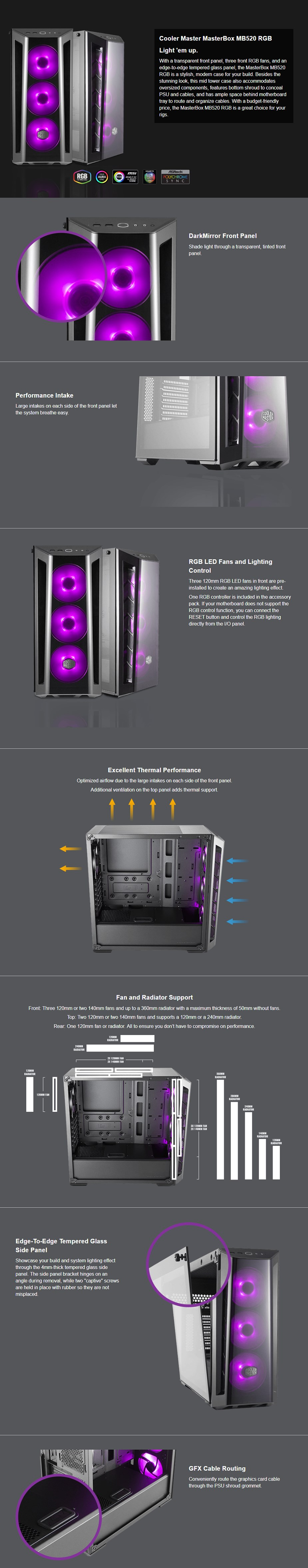 Cooler Master MasterBox MB520 RGB Tempered Glass Mid-Tower ATX Case - Desktop Overview 1