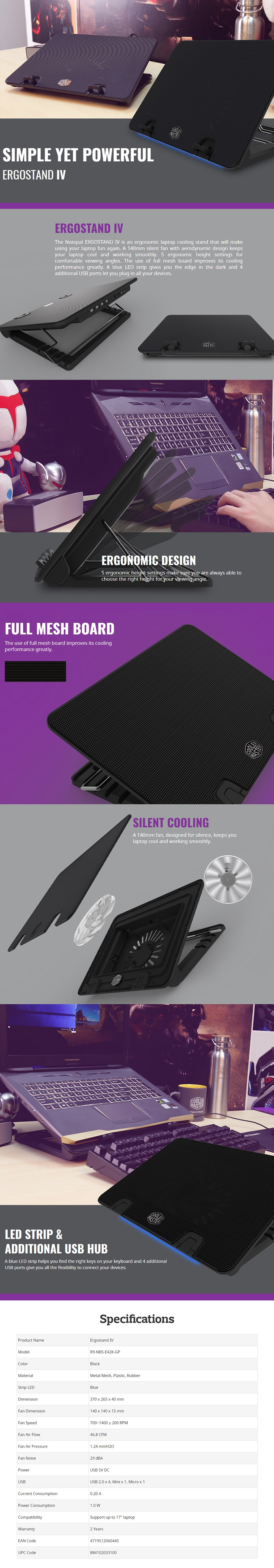 Cooler Master Ergostand IV Laptop Cooling Stand - Desktop Overview 1