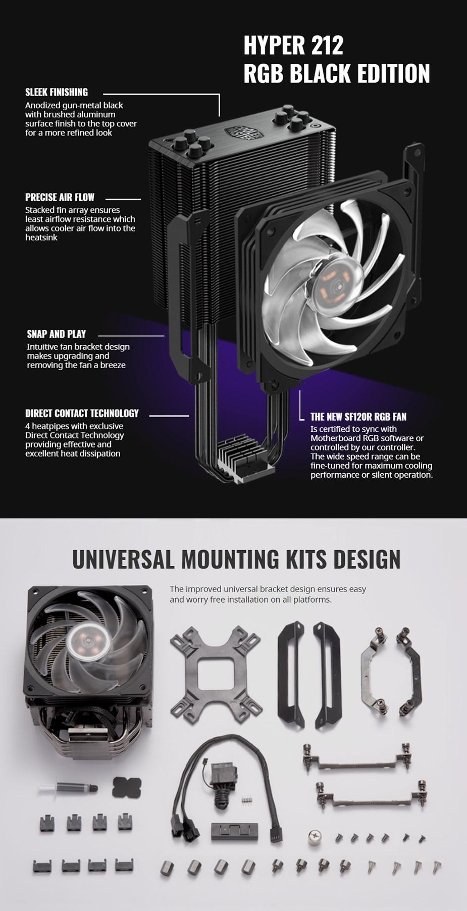Cooler Master Hyper 212 RGB CPU Cooler - Black Edition - Desktop Overview 2