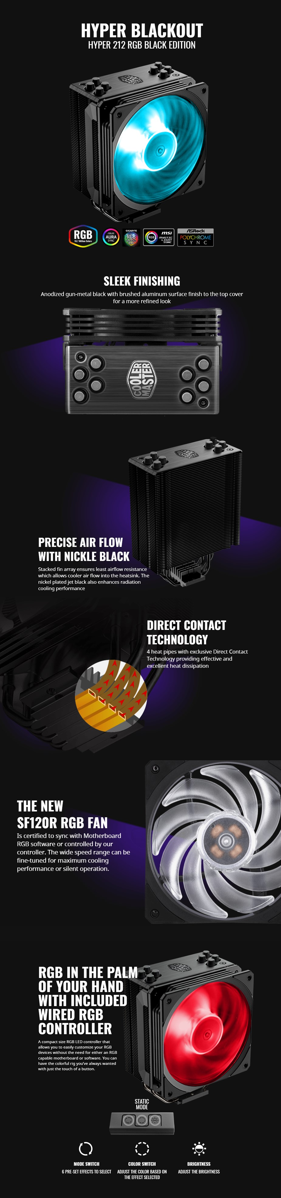 Cooler Master Hyper 212 RGB CPU Cooler - Black Edition - RR-212S
