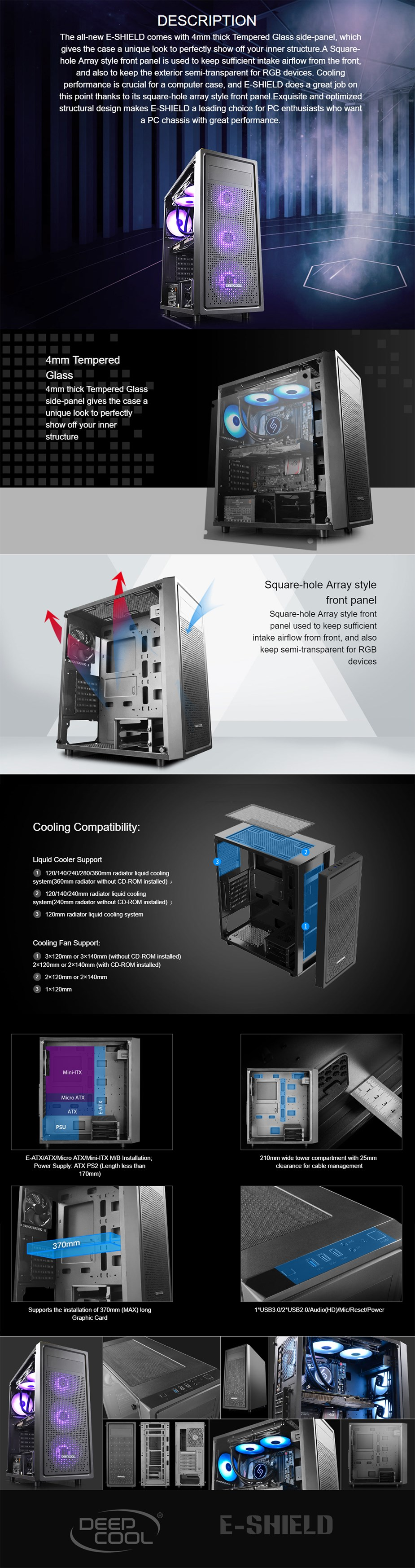 Deepcool E-SHIELD Tempered Glass Mid-Tower E-ATX Case - Desktop Overview 2